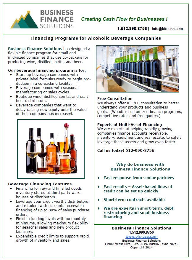 Click on image to download our PDF flyer describing our wine, beer, and distilled spirit financing program for manufacturers.